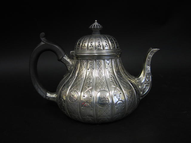 A Victorian silver teapot  by Robert Garrard, London 1871