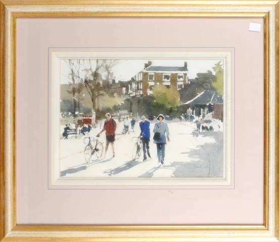 John Yardley (British, born 1933) Figures on a street