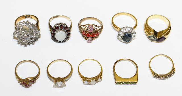 A collection of ten rings,