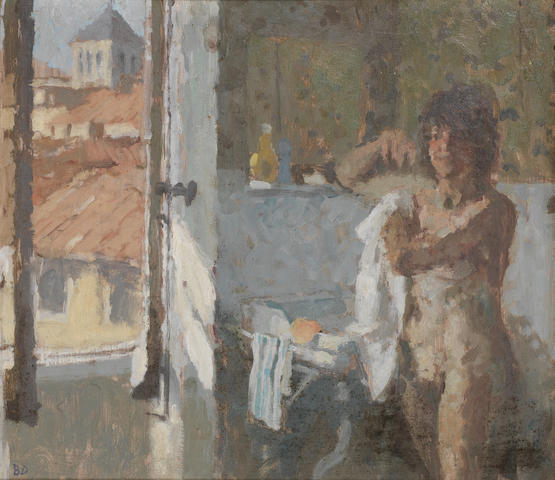 Bernard Dunstan, R.A. (British, born 1920) Washing up by open window