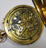 Unsigned. An 18ct gold keyless wind minute repeating triple calendar chronograph full hunter pocket watch with moon phasesCase No.203767, London Hallmark for 1910
