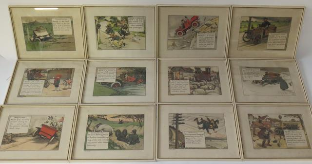 A series of twelve framed 'Motoritis' Veteran motoring prints, after Chas Crombie, 1906,