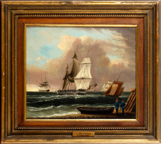 J. Wilkins, 19th Century A warship and other vessels off the shore