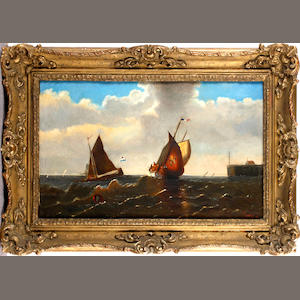 J. Clays, 19th Century French fishing vessels in  a swell