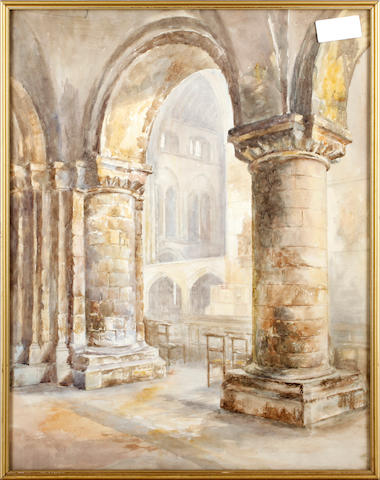 Attributed to Gertrude Hall (Early 20th Century) In the cloisters