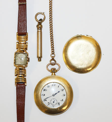 An 18ct gold half hunter pocket watch, (4)