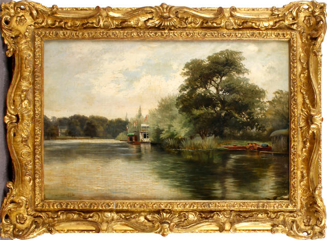 Follower of Benjamin Williams Leader, RA (British, 1831-1923) View down a river 25 x 36cm
