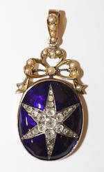 A diamond and enamel pendant