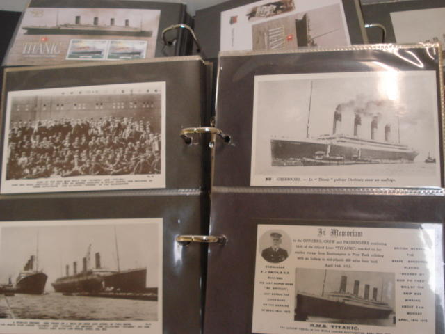 Titanic Interest:  a large collection of postcards, Commemorative covers, some signed, mini sheets of stamps, Presentation packs and ephemera relating to the Titanic, late 20th/early 21st Century, in five albums.