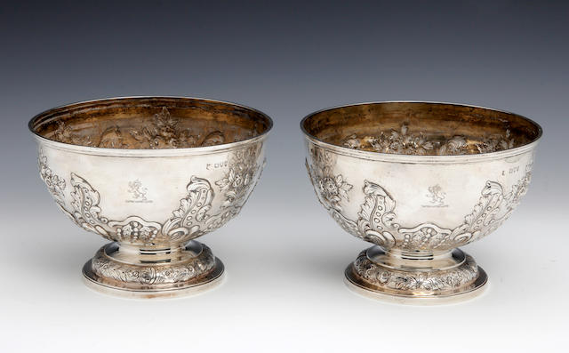 A Victorian silver pair of rose bowls by Gibson & Langman, London 1894