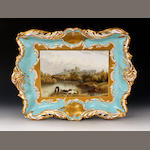 A John Ridgway rectangular porcelain plaque or tray, mid 19th century