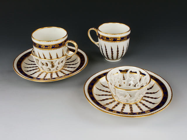 A pair of Derby chocolate cups and trembleuse saucers, circa 1790