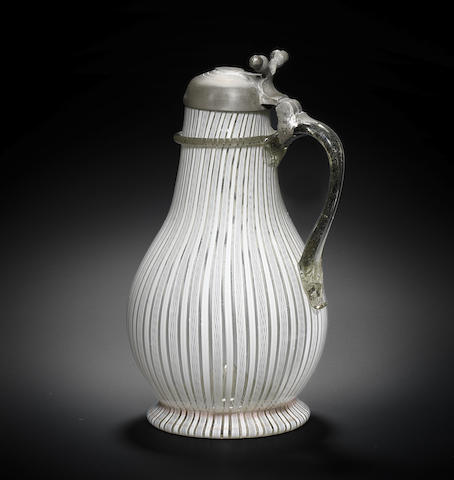 A South German pewter-mounted latticinio tankard, 16th/17th century