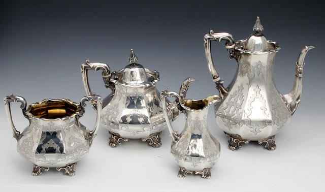 A Victorian silver four piece tea and coffee service  by J. & A. Savory, London 1852