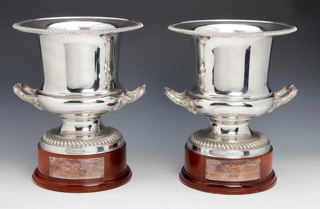 Of Horse Racing Interest; A pair of presentation electro-plated wine coolers by Barker Ellis, circa 1990
