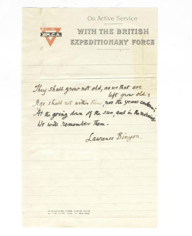 BINYON, LAURENCE (1869-1943) AUTOGRAPH MANUSCRIPT OF THE IMMORTAL FOURTH STANZA OF HIS POEM 'FOR THE FALLEN', [before 1918]