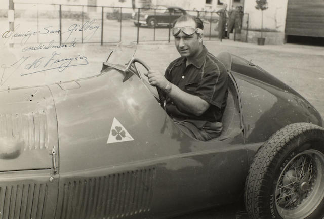 Two photographs signed by Juan Manuel Fangio and dedicated to Sam Gilbey,