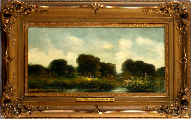 Follower of Jean Francois Daubigny River landscape