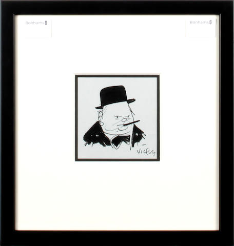 Victor (Vicky) Weisz (1913-1966) Caricature portrait of Sir Winston Churchill