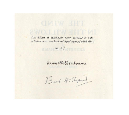 GRAHAME (KENNETH) The Wind in the Willows, NUMBER 17 OF 200 DELUXE COPIES, SIGNED BY THE AUTHOR AND ILLUSTRATOR, 1931