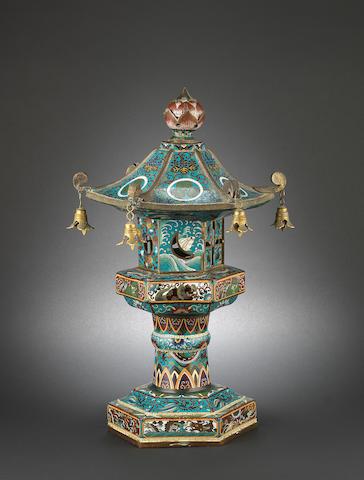 A sectional, cloisonné enamel lantern