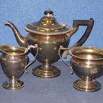 A three piece electroplated teaset, M B & Co.  (3)