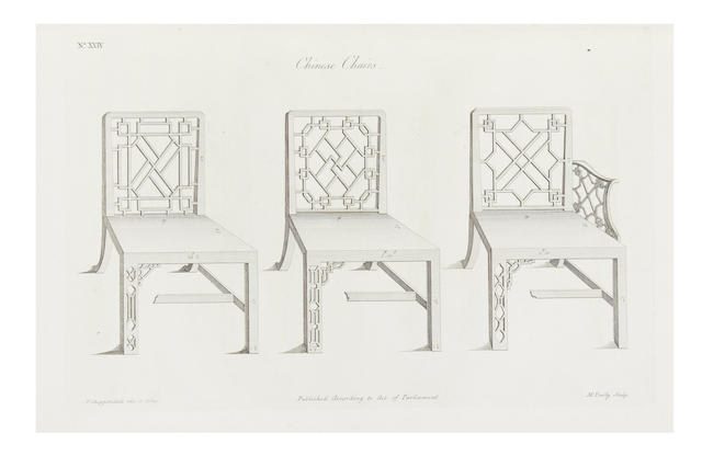 CHIPPENDALE (THOMAS) The Gentleman and Cabinet-Maker's Director. Being a Large Collection of the Most Elegant and Useful Designs of Hous[e]hold Furniture in the Gothic, Chinese, and Modern Taste, 1754