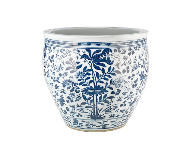 A large blue and white jardinière 19th century