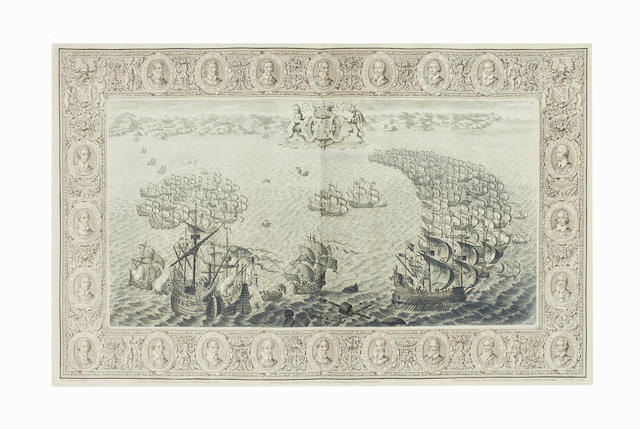 PINE (JOHN) The Tapestry Hangings of the House of Lords: Representing the Several Engagements between the English and Spanish Fleets, in the Ever Memorable Year MDLXXXVIII, 2 vol. including Atlas, 1745
