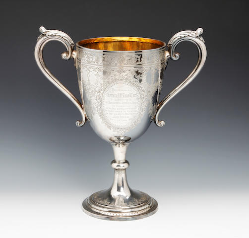 A Victorian silver two handled presentation cup by Atkin Bros., Sheffield 1879