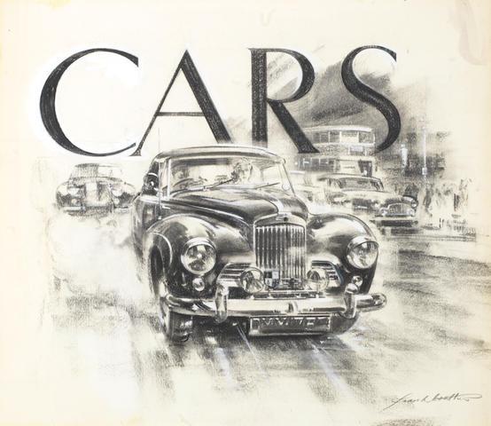 Frank Wootton (British 1914-1998), 'Cars', an original book cover illustration,