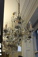 A gilt-metal and cut glass chandelier