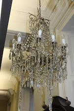 A gilt-metal and cut glass chandelier,
