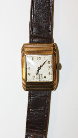A gents 1930's 9ct gold cased wrist watch, in rectangular shaped case, hallmarked Chester 1935.