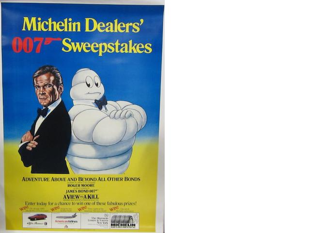 A James Bond 007 Michelin Dealers' Sweepstakes poster, 1985,