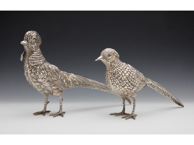 A silver cock and hen pheasant table decoration by the Royal Irish Company, Dublin 1972/74