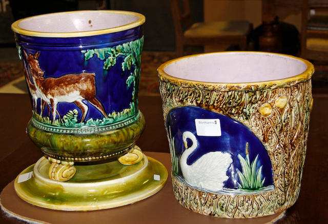An English majolica jardiniere and another with stand, 19th century
