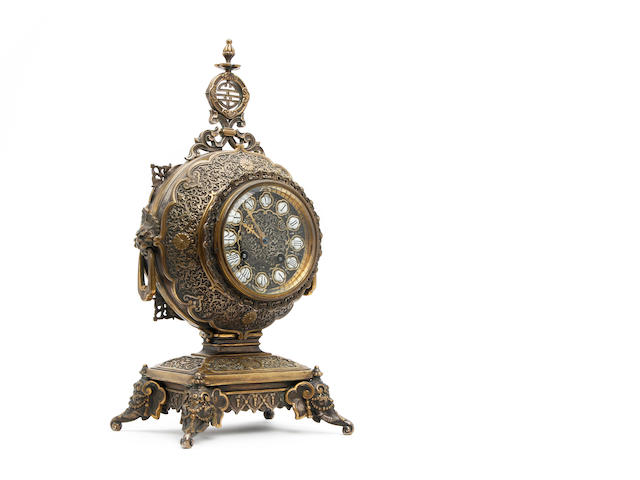 19th century French brass mantle clock, in the Aesthetic movement style. Japy Frere, retailed by Miller & Sons, Picadilly