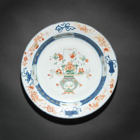 A large verte-Imari dish 18th century