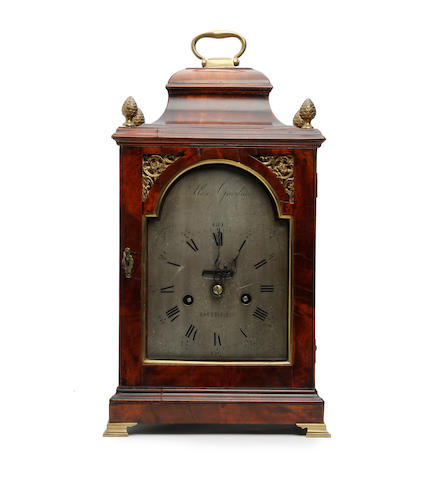 A rare third quarter of the 18th century Irish figured mahogany quarter repeating bracket timepiece with dummy winder  Alexander Gordon, Dublin