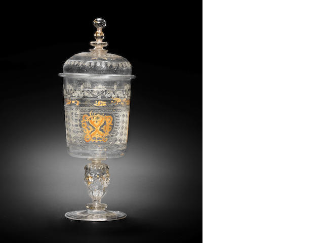A façon de Venise diamond-point engraved, gilt and 'cold-painted' goblet and cover, Court Glasshouse, Innsbruck, circa 1570-91