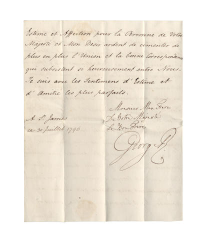 GEORGE III. Letter signed, in French, to Wilhelm Frederick, King of Prussia, 1796
