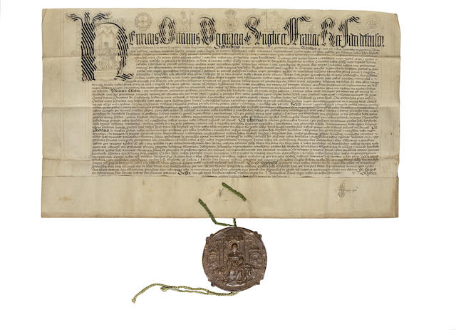 Henry VIII letters patent with fine initial letter portrait