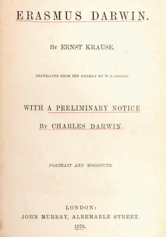 "DARWIN (CHARLES) - KRAUSE (ERNST) Erasmus Darwin... with a Preliminary Notice by Charles Darwin,inscribed by the publishers (""From C. Darwin""), 1879"