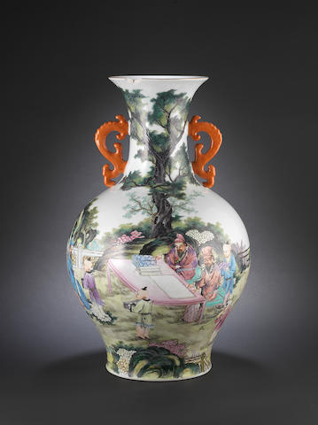 A famille rose pear-shaped vase 20th century, Qianlong six-character sealmark