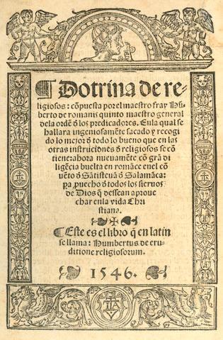 HUMBERTUS, de Romanis Dotrina de religiosos... Salamāca, 1546