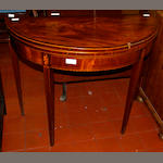A George III mahogany and line inlaid demi-lune card table,
