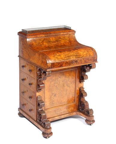 A Victorian burr walnut 'piano top' Davenport