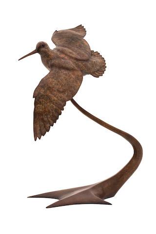 Alan Glasby (British, 1945-2008) 'Woodcock in Flight' 60cm x 43cm.