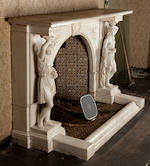 An impressive Italian 19th century white marbe fire surround